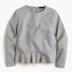 J. Crew Tulle Hem Sweater Dark Grey Pink Size XL